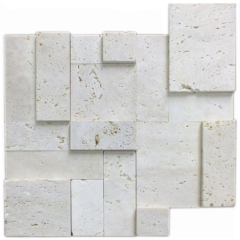 Vogue Peel Stick Ivory Travertine Honed And Split Face Mix Brick Pattern Mosaics For Kitchen Backsplash Wall Tile 5 Marble Tiles Iscs Building Supplies