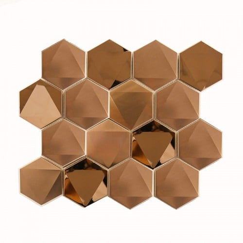 Hexagon 3D pyramid metal rose gold mosaic tiles for kitchen wall home decor