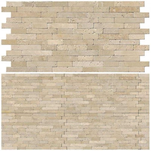 Vogue Ivory Cream Light Travertine Honed and Split Face Mix Brick Marble Mosaics for Kitchen Backsplashes, Wall Fireplace Tile, Accent Walls
